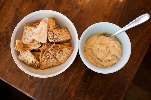 Homemade Hummus and Seasoned Baked Pita Chips