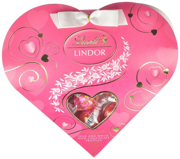 Lindt Valentine Lindor Truffles Gift Box, Milk with White Mini Heart, 3.4 Ounce