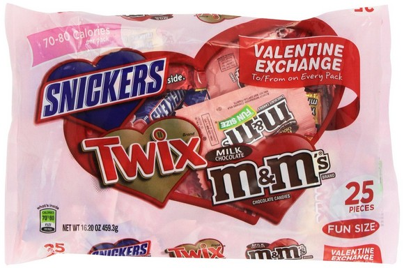 Mars Valentine's Fun Size Chocolate Mix Variety Bag, 16.20-Ounce Packages (Pack of 4)