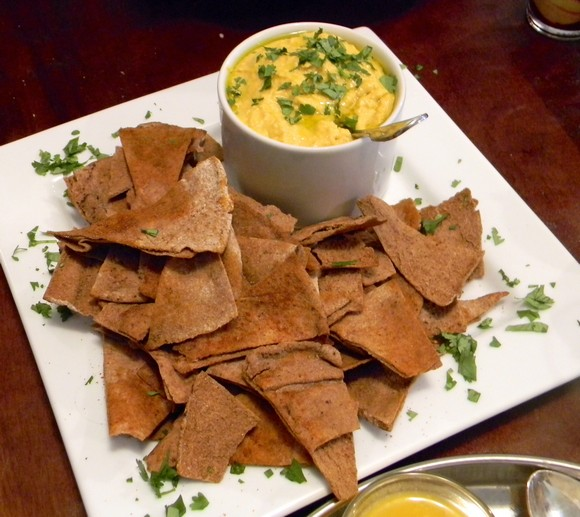 Pumpkin Hummus with Spiced Whole Wheat Pita Chips
