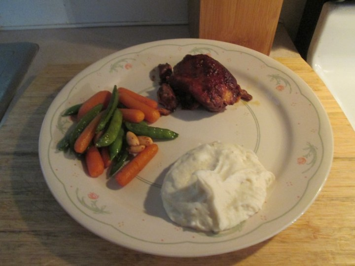 Honey-Garlic Slow Cooker Chicken Thighs with Mashed Potatoes, Sugar Snap Peas and Carrots