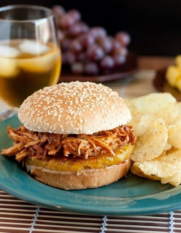 Slow Cooker Hawaiian BBQ Pulled Chicken Sandwiches