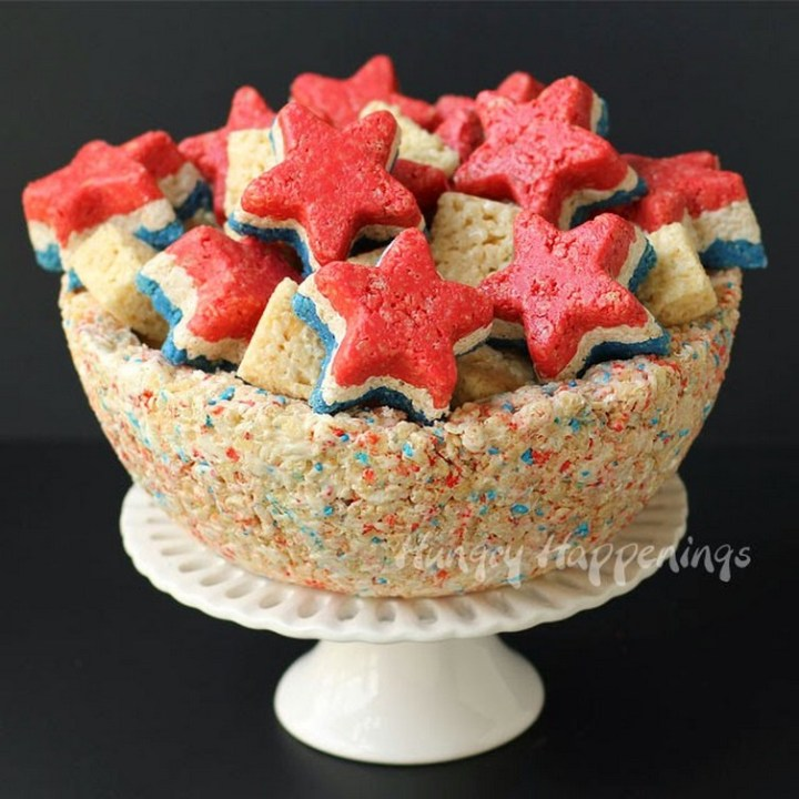 4th of July Rice Krispie Treat Bowl