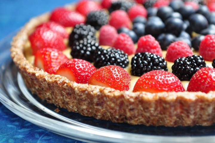 Raw Berry Tart with a Coconut Pastry Cream
