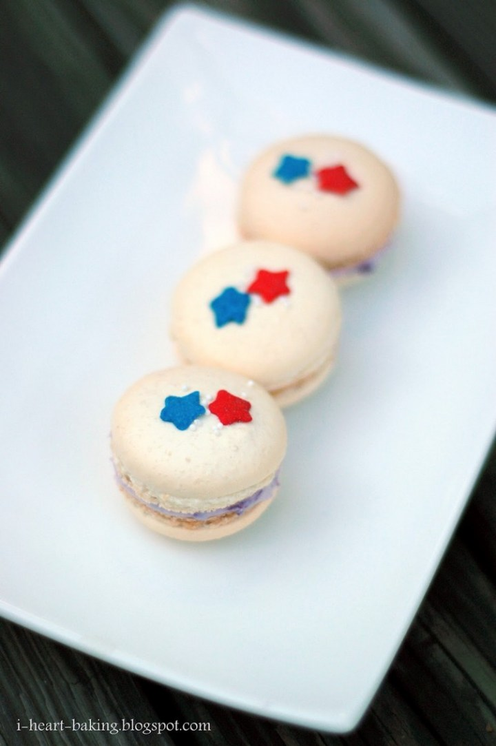 Red White and Blue Blueberry Macarons