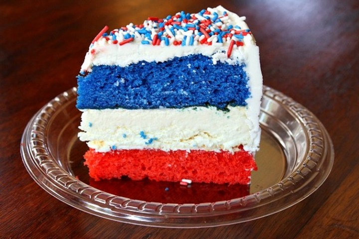 Red, White and Blue Cheesecake Cake