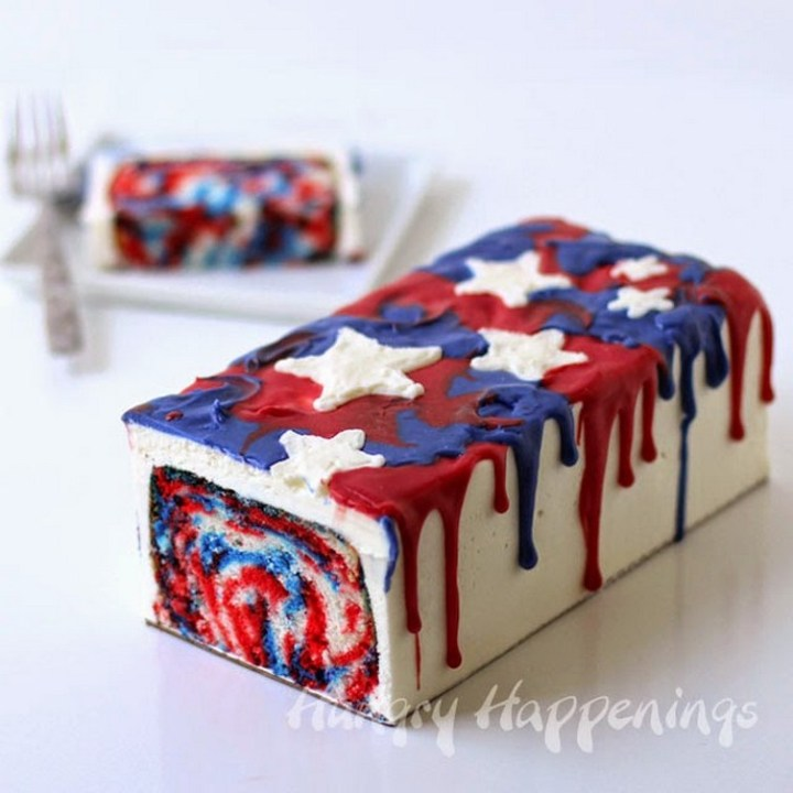 Red, White and Blue Tie-Dye Cake
