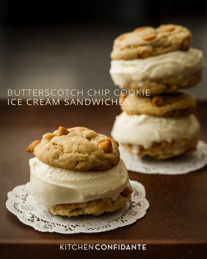Butterscotch Chip Cookie Ice Cream Sandwiches