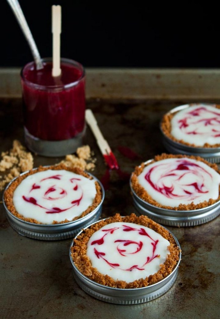 Mason Jar Lid White Chocolate Raspberry Tarts