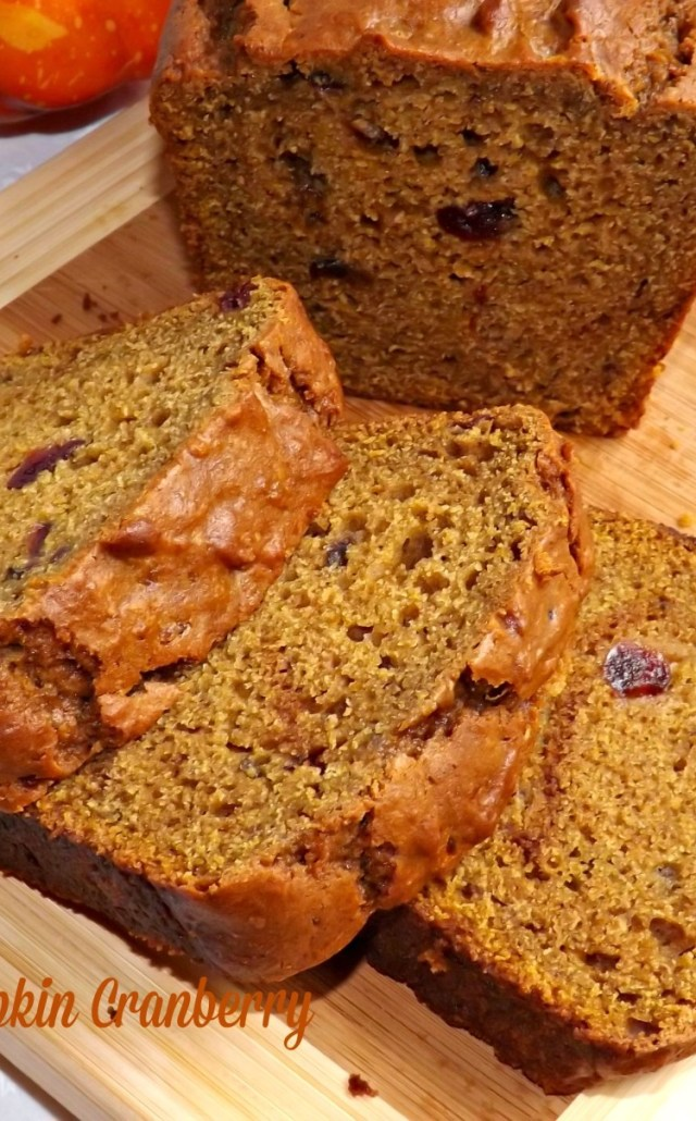 Easy Pumpkin Cranberry Bread