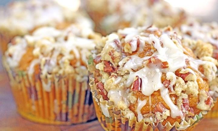 Iced Maple Pumpkin Pecan Streusel Muffins