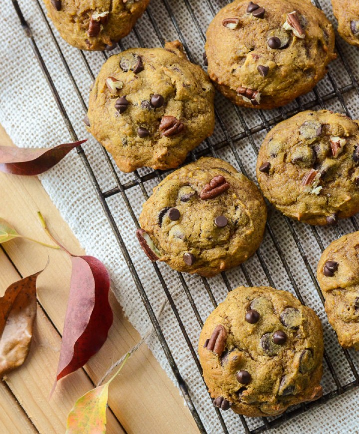 Pumpkin Pecan Chocolate Chip Cookies
