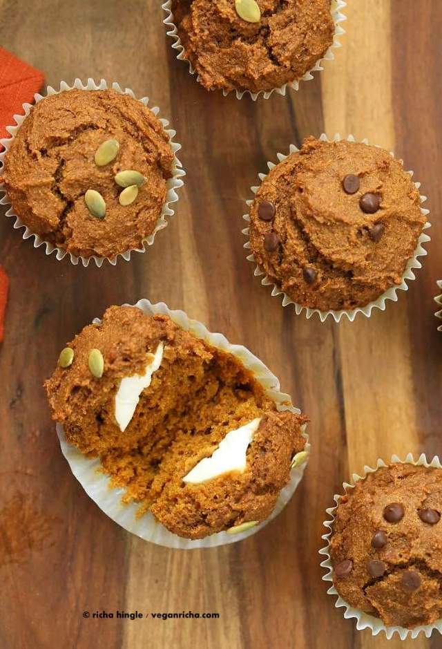 One Bowl Vegan Pumpkin Cream Cheese Muffins