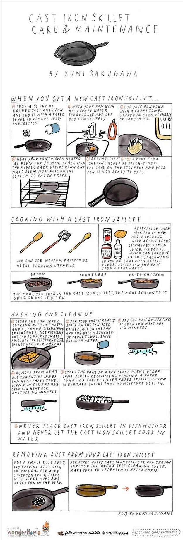 For cooking with and maintaining a cast iron skillet