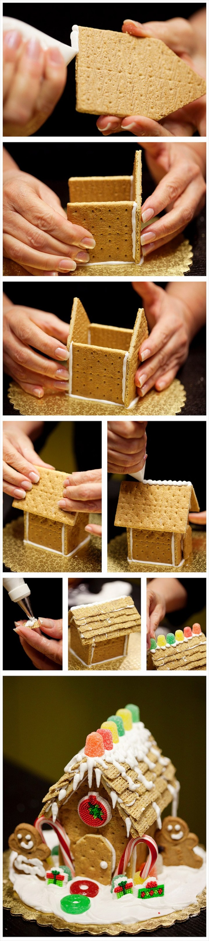Build a gingerbread house with graham crackers