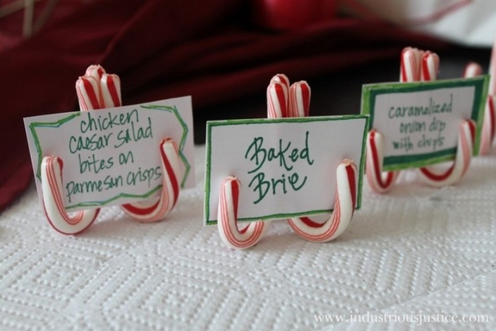 Two candy canes glued together makes the easiest place card settings or food labels