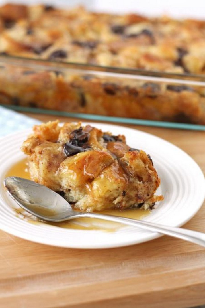 Chocolate Croissant Bread Pudding with Rum Sauce Recipe