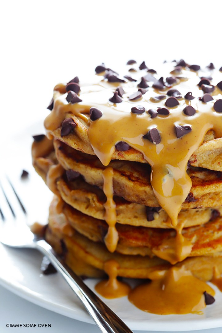 Whole Wheat Peanut Butter Chocolate Chip Pancakes Recipe