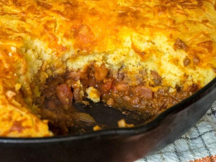 Skillet Chili Cornbread Pot Pie Recipe