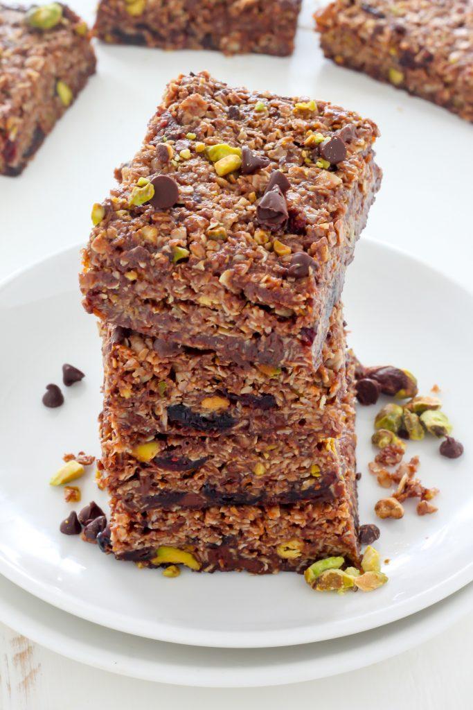 http://bakerbynature.com/dark-chocolate-pistachio-nutella-granola-bars/