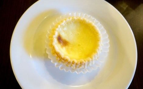 A plate of pastry, a Milk Tart from Kee Heong Cantonese Bakery.