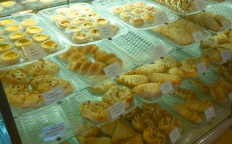 A case full of pastries at Kee Heong Cantonese Bakery, Halifax Nova Scotia