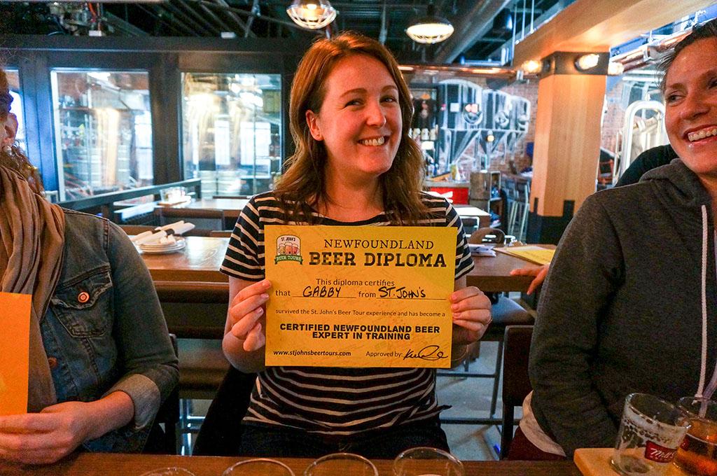 St. John's Beer Tours Beer Diploma