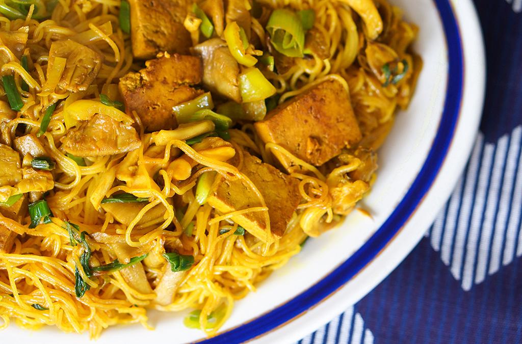 Vegetarian Vietnam The Food Girl in Town Tumeric Noodles Closeup
