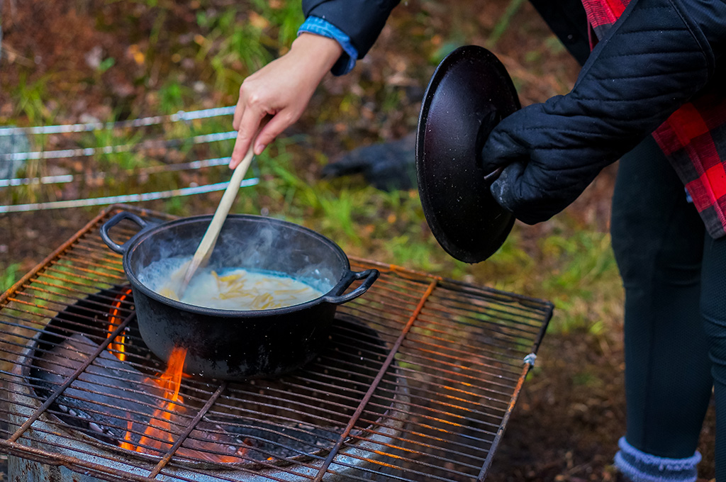 Glamping in Newfoundland Campfire cooking