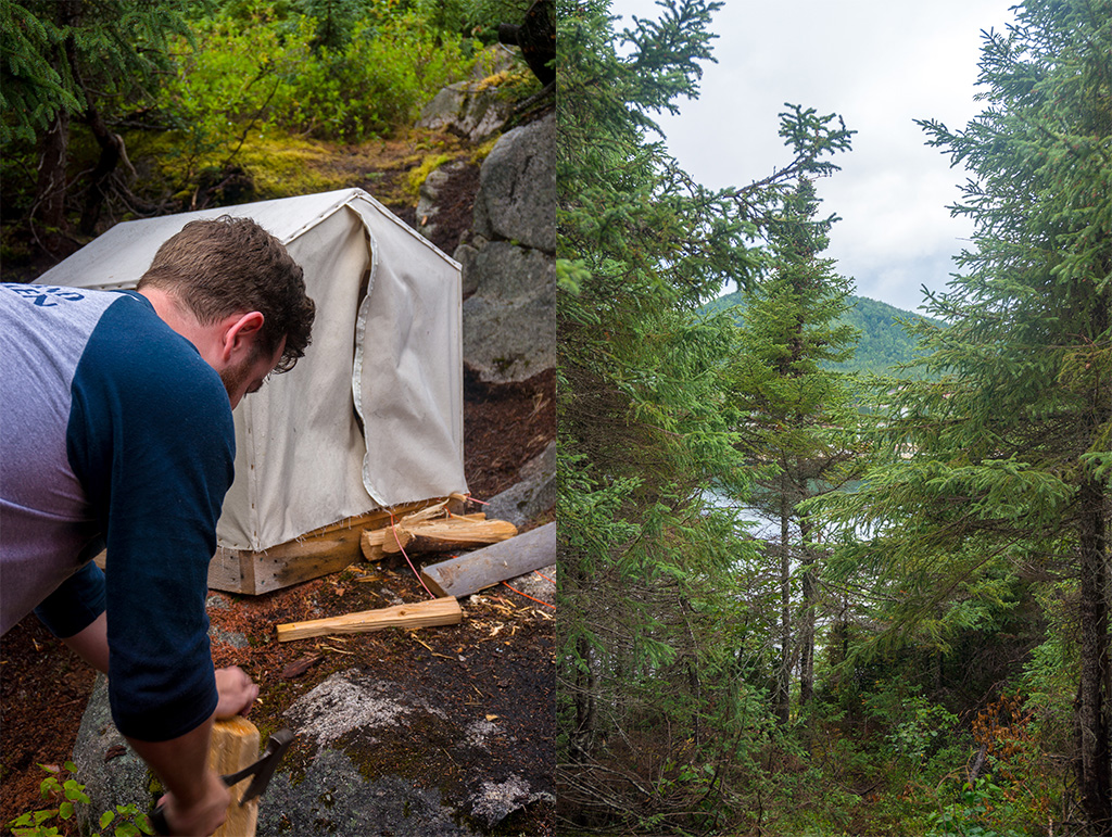 Cutting Wood Glamping in Newfoundland