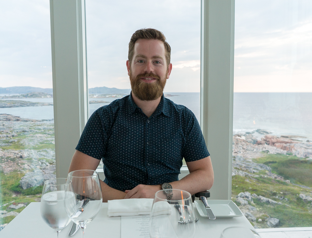 Adam Breakfast dining the Fogo Island Inn
