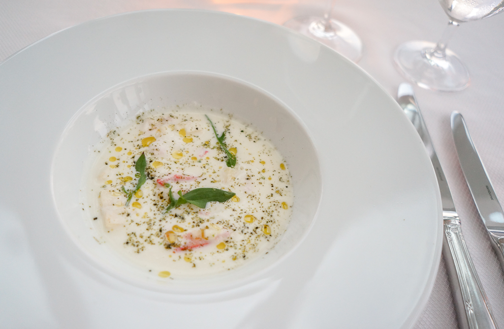 Chilled soup dining at the Fogo Island Inn