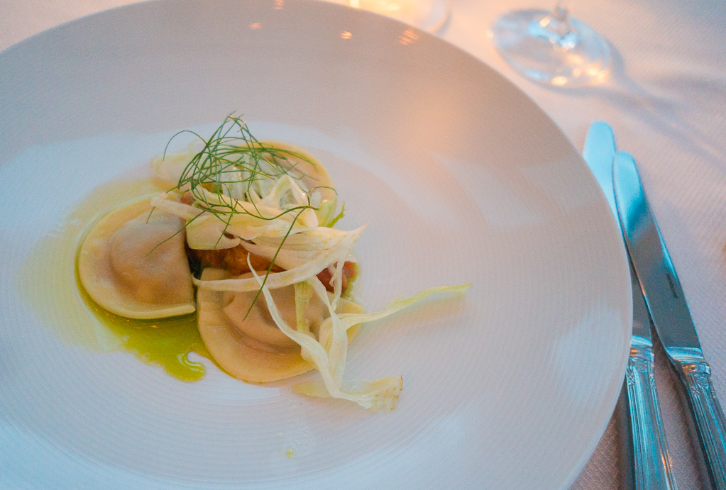 Fennel agnolotti at the Fogo Island Inn