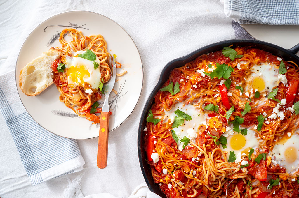 Shakshuka Spaghetti bake served on a plate