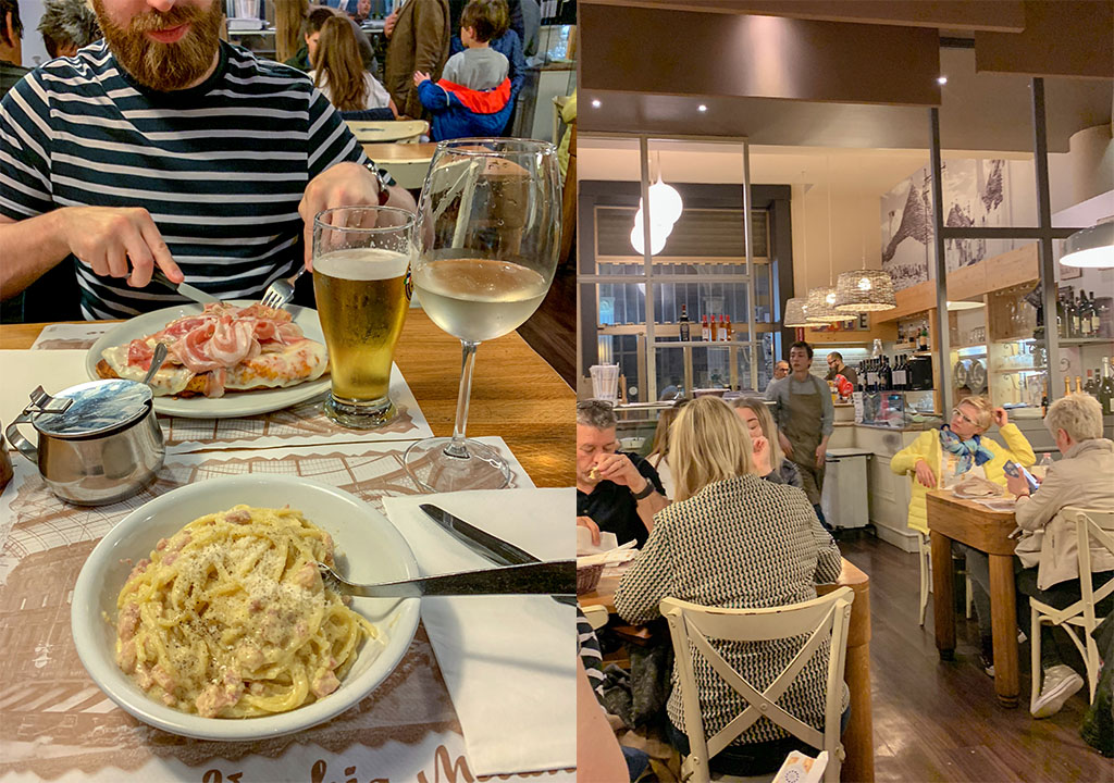 Pasta and Pizza in one of the best restaurants in Rome
