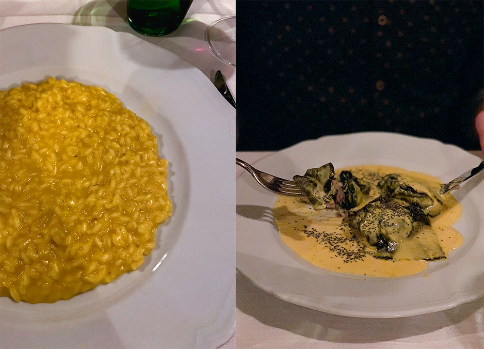 Risotto and Ravioli at Il Solferino, one of the best restaurants in Milan!