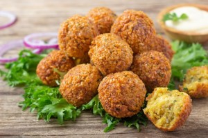 The Foodhall Cookbook: Falafel Served with Hummus and Pita Bread
