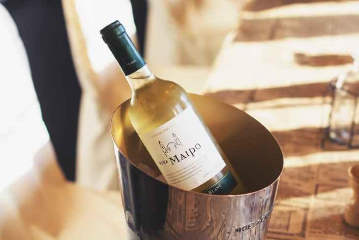 wine bottle on ice bucket
