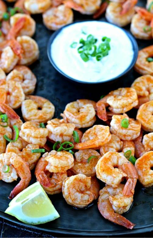 Super Bowl Sunday- Grilled Buffalo Shrimp with Blue Cheese Dipping Sauce