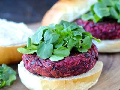 Dining with the Doc: Smoky Beet Burgers with Goat Cheese Yogurt Spread