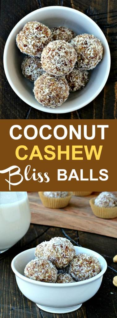 Coconut Cashew Bliss Balls- coconut and cashews come together for the perfect afternoon indulgence!| @foodiephysician