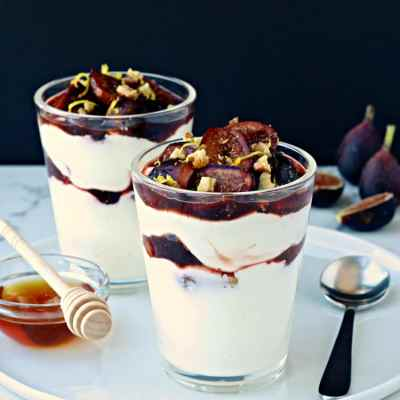 Balsamic Roasted Fig & Yogurt Parfaits