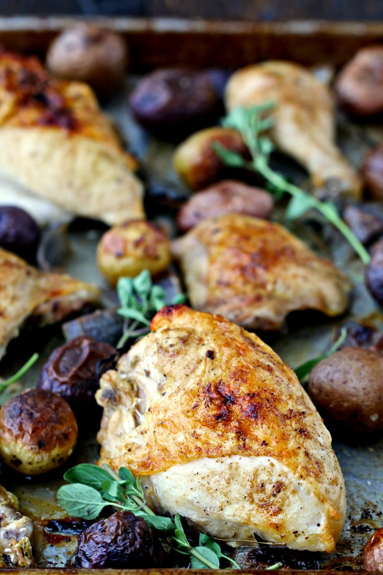 Sheet Pan Roast Chicken and Potatoes with Chimichurri | @foodiephysician