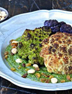 Whole Roasted Cauliflower with Marcona Almond Pesto | @foodiephysician