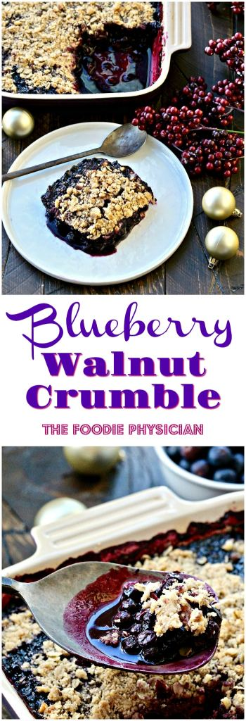 My delicious Blueberry Walnut Crumble is made with sweet blueberries and topped with a crumbly, streusel topping- it's the perfect holiday dessert!