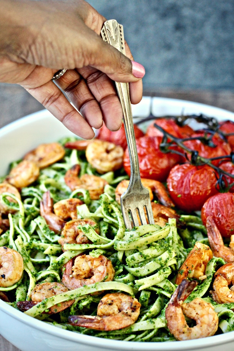 Fettuccini with Collard Greens Pesto and Grilled Shrimp