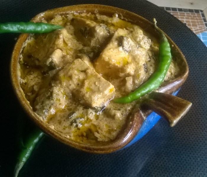 Methi Malai Paneer(A lovely curry of Paneer and Fenugreek Leaves)