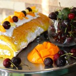 Mango Swiss Roll with Pineapple Cream Filling