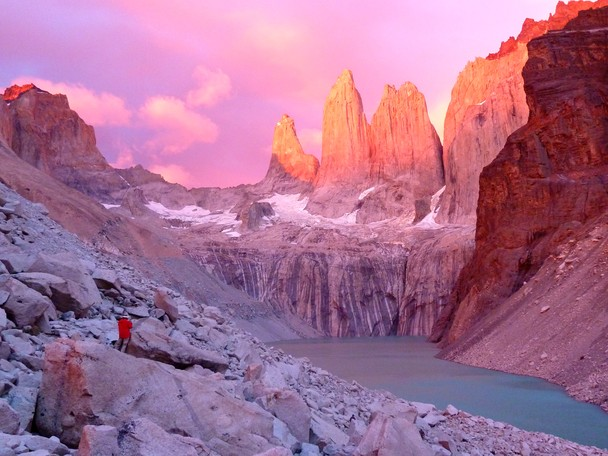 Sunrise over Towers of Paine, Patagonia Chile