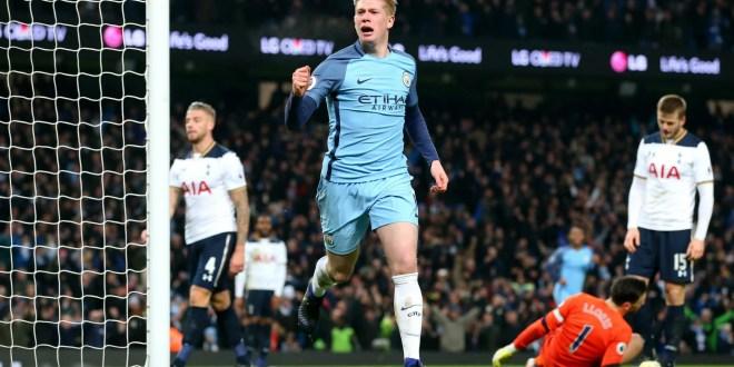 Kevin de Bruyne doubles Manchester City's lead against Tottenham in the Premier League